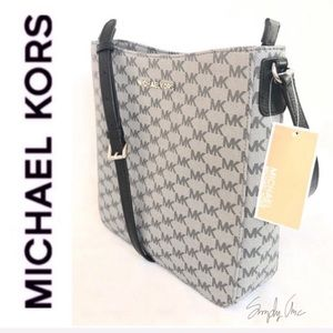 NWT authentic MK monogram messenger black silver